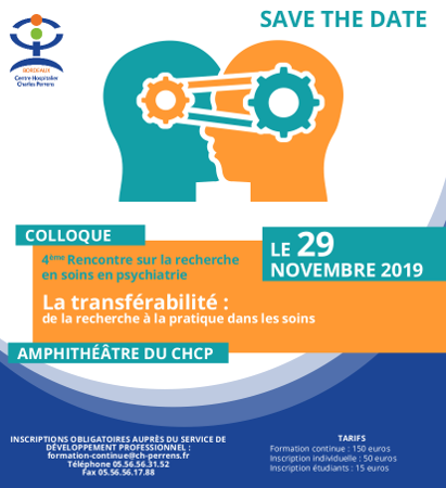 """save the date"" 4eme rencontre Recherche en soins en psychiatrie"